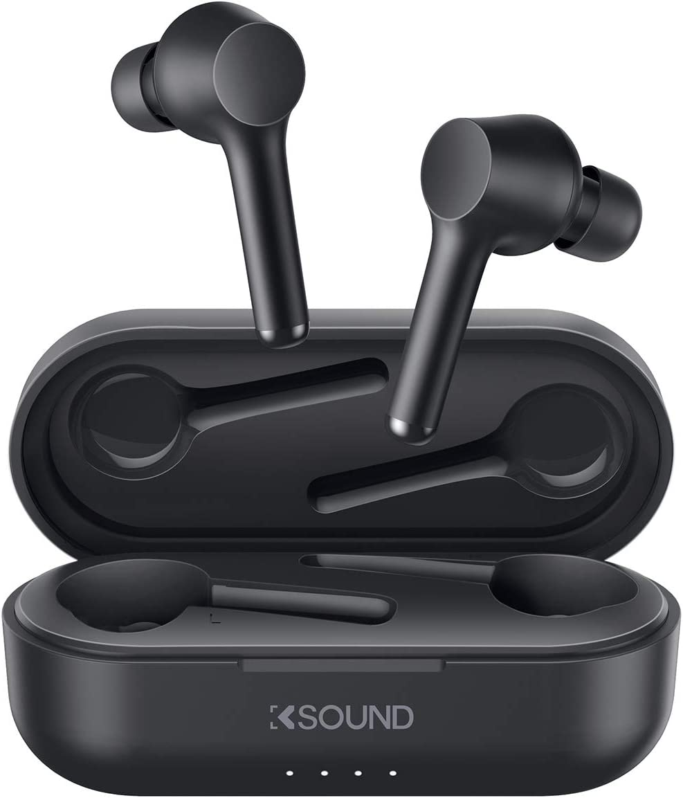 Ksound by AUKEY True Wireless Earbuds Bluetooth 5 with 30H Playtime, IPX5 Waterproof, Volume Control, USB-C & Instant Pairing, Hands-Free Wireless Headphones Single/Twin Mode (K01)