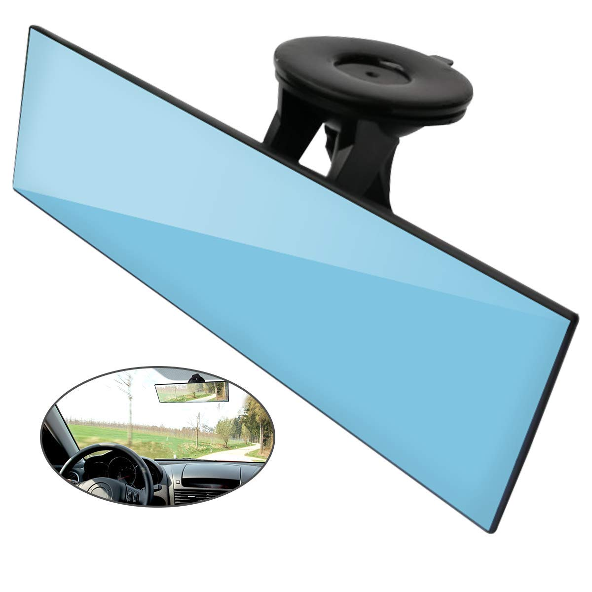 Reduce Blind Spot and Antiglare(Set of 1) Car Rear View Mirror WACCIU Anti-glare Universal Car Truck Interior Rearview Mirror with Suction Cup Blue Mirror