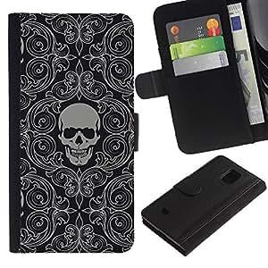 Be Good Phone Accessory // Caso del tirón Billetera de Cuero Titular de la tarjeta Carcasa Funda de Protección para Samsung Galaxy S5 Mini, SM-G800, NOT S5 REGULAR! // Skull Wallpaper Grey Skeleton Head Pattern