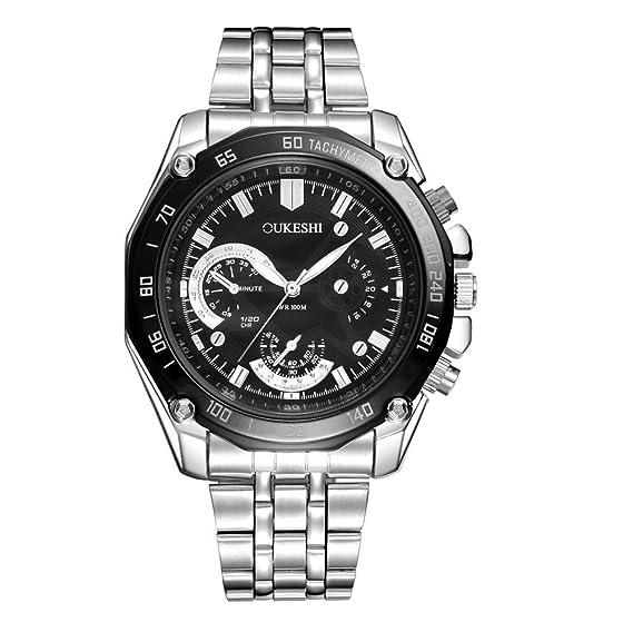 Relojes para Hombre, YpingLonk de Acero Inoxidable Impermeable Relojes Moda Relojes Analógico para Unisex de Cuarzo Clásico y Vintage con Cadena Accesorios: ...