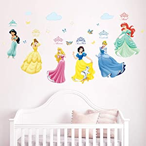 Runtoo Princess Wall Decals for Girls Kids Room Wall Stickers Baby Nursery Bedroom Wall Décor