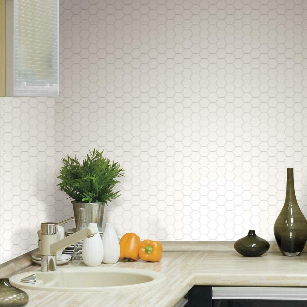 RoomMates Sticktiles Pearl Hexagon Peel and Stick Backsplash Tiles - 4 Per Pack , Multi , 10.5x10.5 - TIL3458FLT