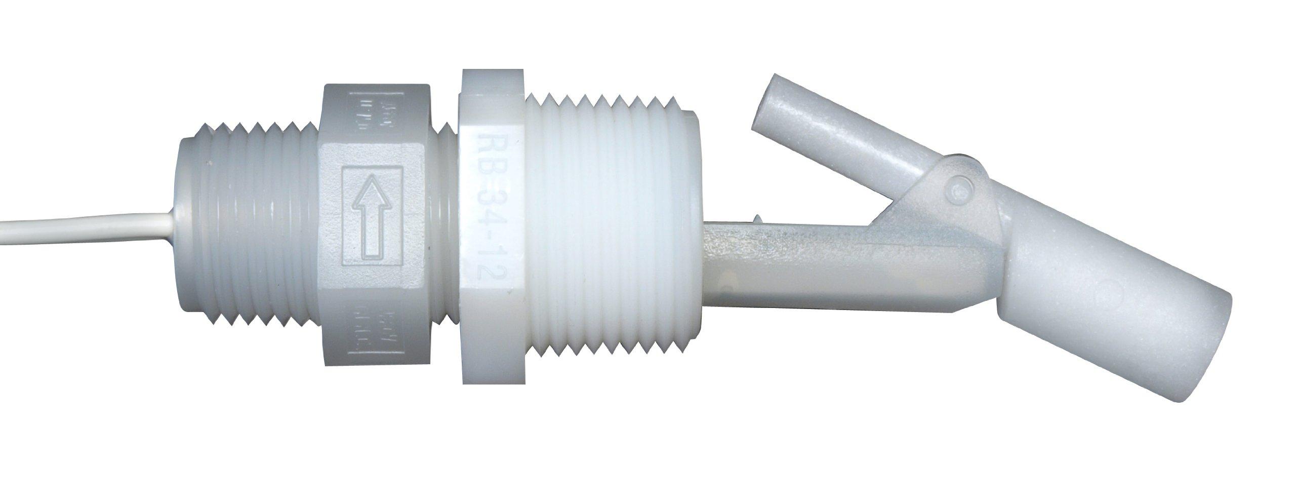 Madison M8700-C Polypropylene HVAC Series Condensate Level Float Switch, 30 VA SPST, 1/2 x 3/4 NPT Male, 100 psig Pressure