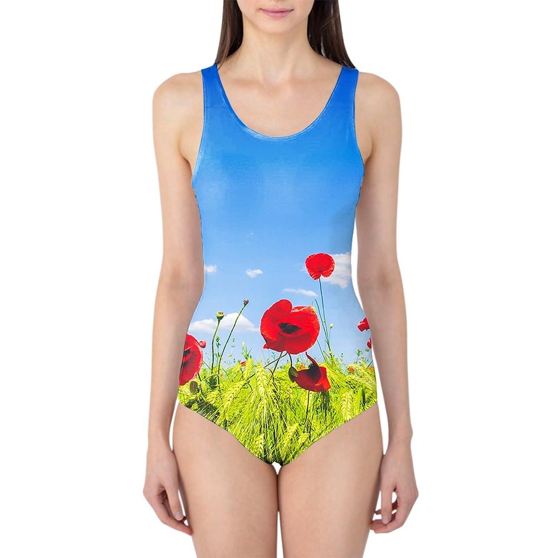 Red Poppies Field Women's Swimsuit Badeanzug XS-3XL