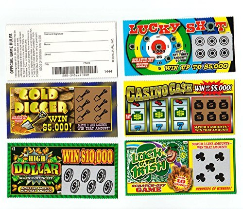(5 FAKE ALL WINNING SCRATCH OFF LOTTERY TICKETS - PRANK - GAG - JOKE by Hikingsters)