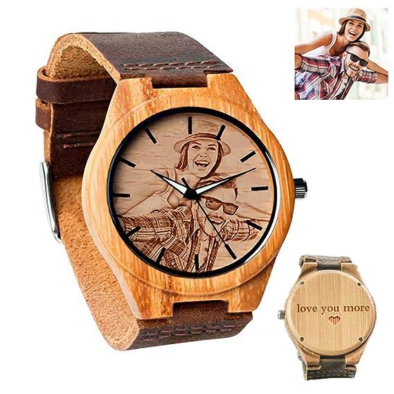 venta barata ee. disponible hombre Relojes de Madera Personalizados con Foto Personalizado para ...