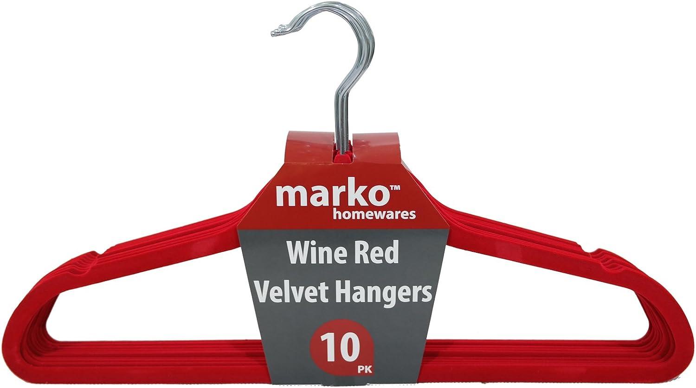 Blue or Wine Red Marko Homewares Non Slip Flocked Velvet Coat Hanger Clothes Hanging Coathangers with Trouser Bar in Black 10, Red