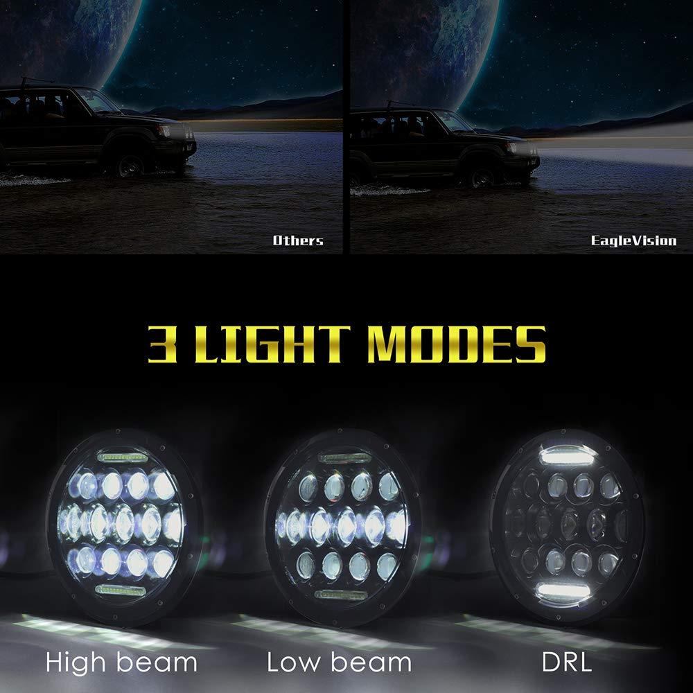 Hi//Lo Faisceau et DRL lampe frontale J-eep Wrangler phares LED 1/pcs Hip Tec 17,8/cm Round 300/W Phare LED pour moto Harley phares LED