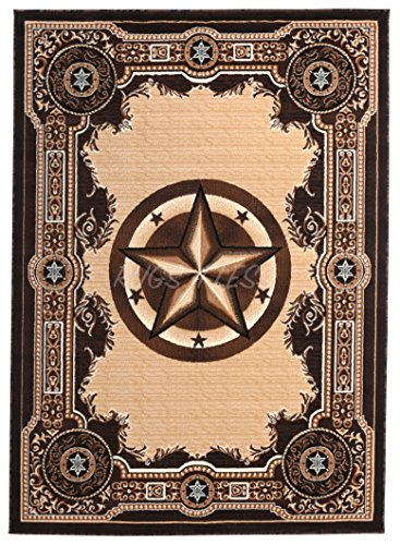 Rugs 4 Less Collection Texas Lone Star State Novelty Area Rug Chocolate / Brown 723 (5'X7')