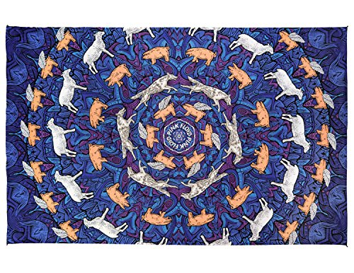Sheep Tapestry - Sunshine Joy 3D Pink Floyd Animals Tapestry Psychedelic Wall Art Huge 60x90 Inches