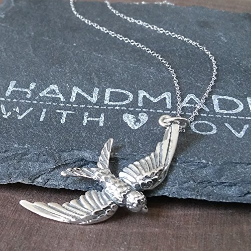 (Sterling Silver Large Bird Pendant Necklace, 20