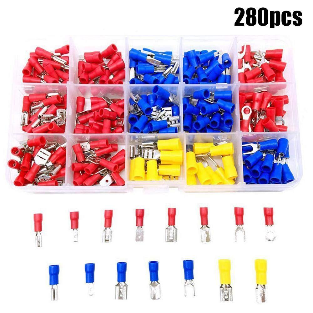 Febelle 280 pcs Assorties Electric Fourchette Bague Spade Crimp terminal connecteur de fils avec Bbox