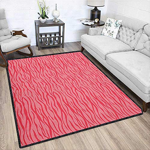Pink Zebra Indoor/Outdoor Area Rug,Wavy Zebra Stripes Camouflage Savannah Safari African Animal Motif for Residential or Commercial Use Dark Coral and Pink 79