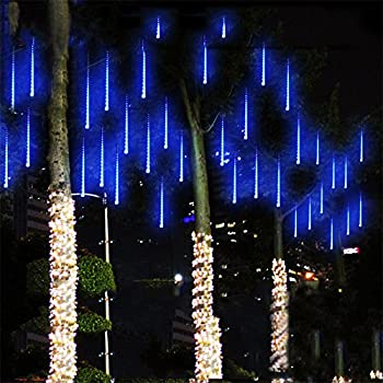 alkbo blue color meteor shower rain lights waterproof string for wedding party christmas xmas decoration tree party garden xmas string light outdoor 10ft 8 - Decoration Lights