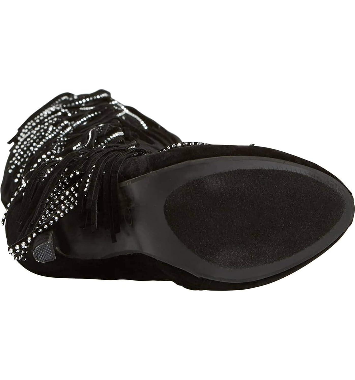 Lauren Lorraine Dolly Black Fringe Studded Heeled Knee-high Women Boots Size