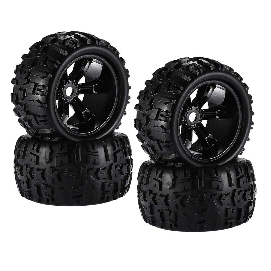 Homyl 4er-Set Schwarz Reifen Gummin Felgen für 1/8 HSP HPI E-MAXX Savage
