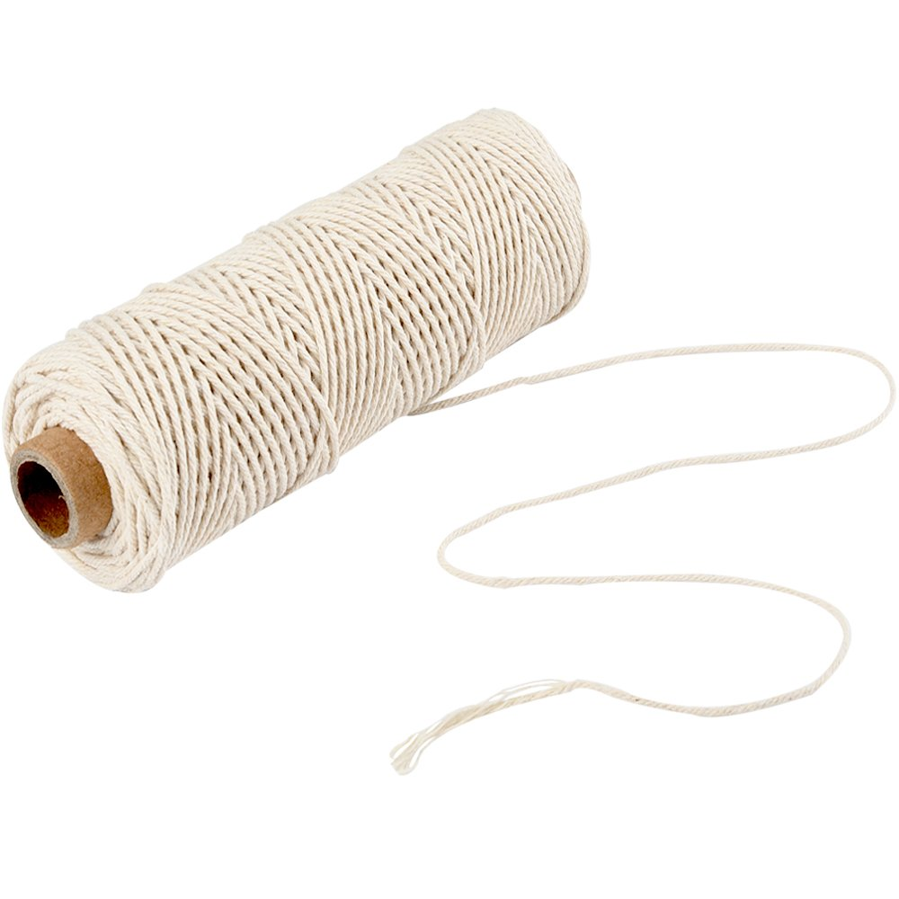 2mm Macrame Cotton Cord, Plant Hanger Wall Hanging Crocheting Bohemia Dream Catcher DIY Craft Knitting - 100 Meter Soft Undyed Natural Color Twine String Elino