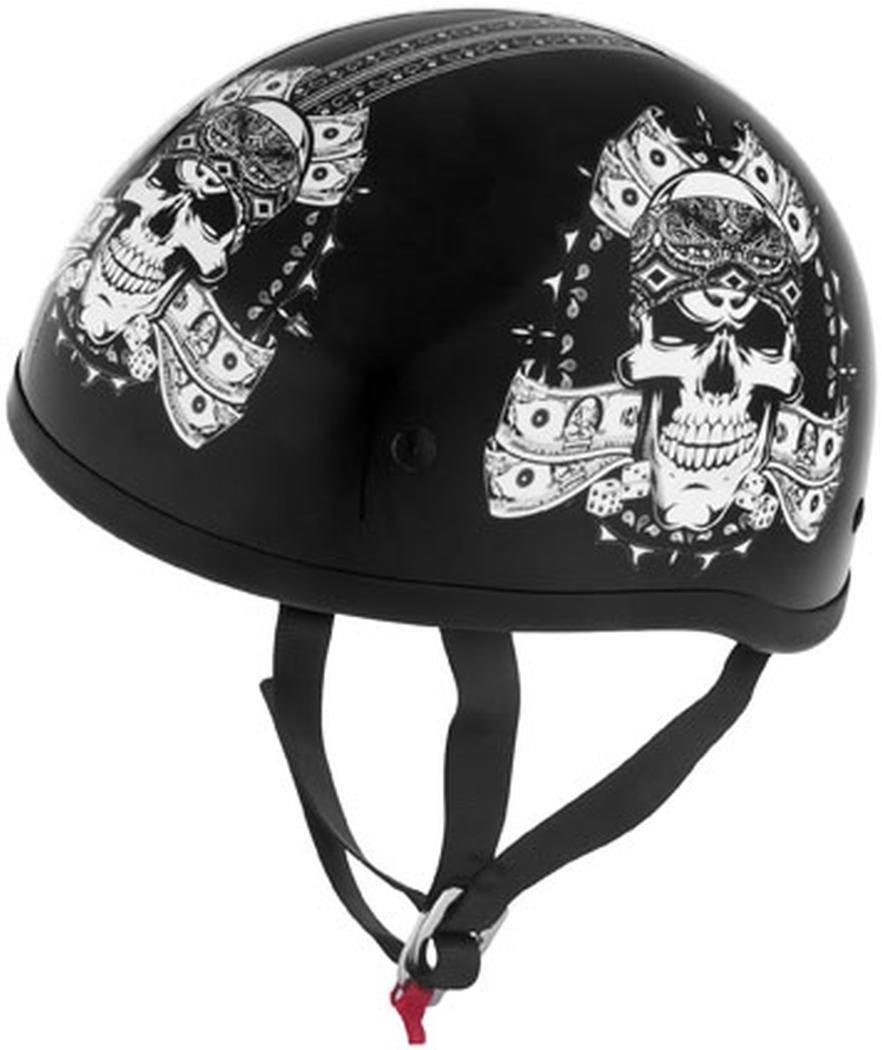 Skid Lid Thug Skull Original Helmet (Black/White, XX-Large)