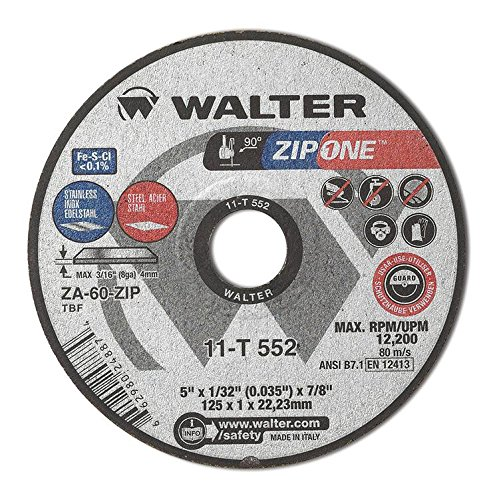 Walter ZIP One 11T552 High Performance Cutoff Wheel, Round Hole, Aluminum Oxide, 5