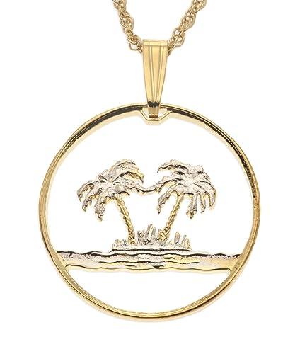 e28504589f02a Amazon.com: Palm Tree Pendant, Oman Coin Hand Cut, 14 Karat Gold and ...