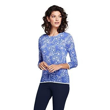 e2eac71a31 Lands  End Women s Supima 3 4 Sleeve Print Sweater at Amazon Women s ...