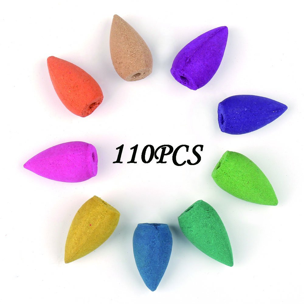Corcio 110 PCS Backflow Incense Cone Osmanthus Fragrance Jasmine Incense Lavender Green Tea Sandalwood Mixed Yoga Natural Incense Stick Kitchen Incense Fragrant Cone