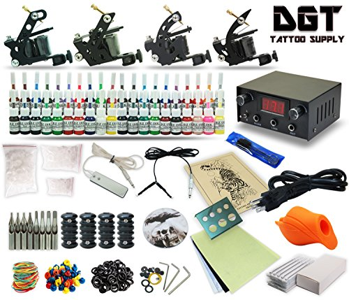Complete Tattoo Kit 4 Machines Guns Set Equipment Power Supply 40 Color Ink (Equipment Tattoo)