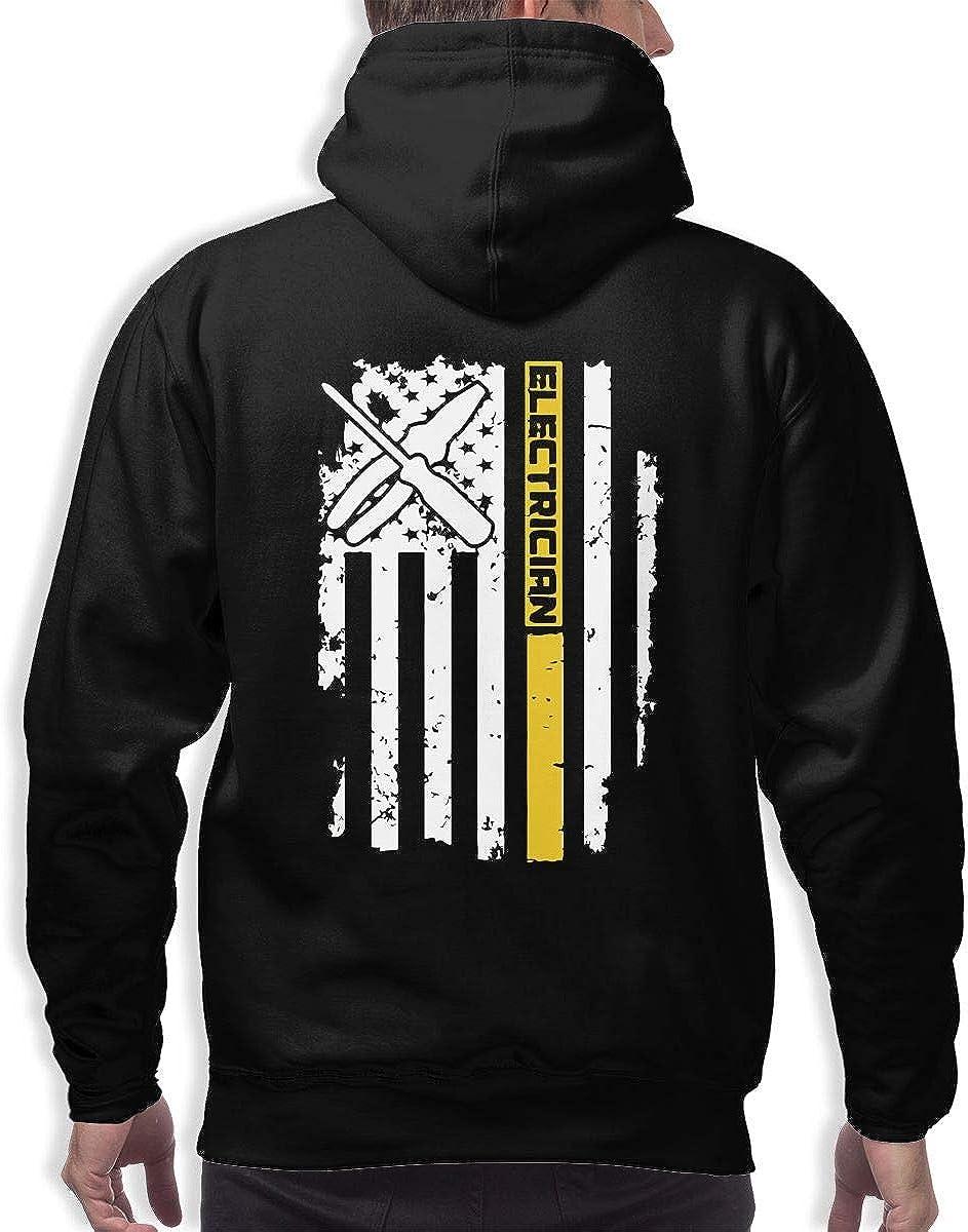 TB92ed/&CW Electrician USA Flag Pullover Hoodie Mens Hooded Sweatshirts Long Sleeve Tops