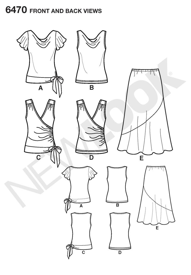 Amazon.com: New Look Sewing Pattern 6470 Misses Separates, Size A (8-10-12-14-16-18): Arts, Crafts & Sewing
