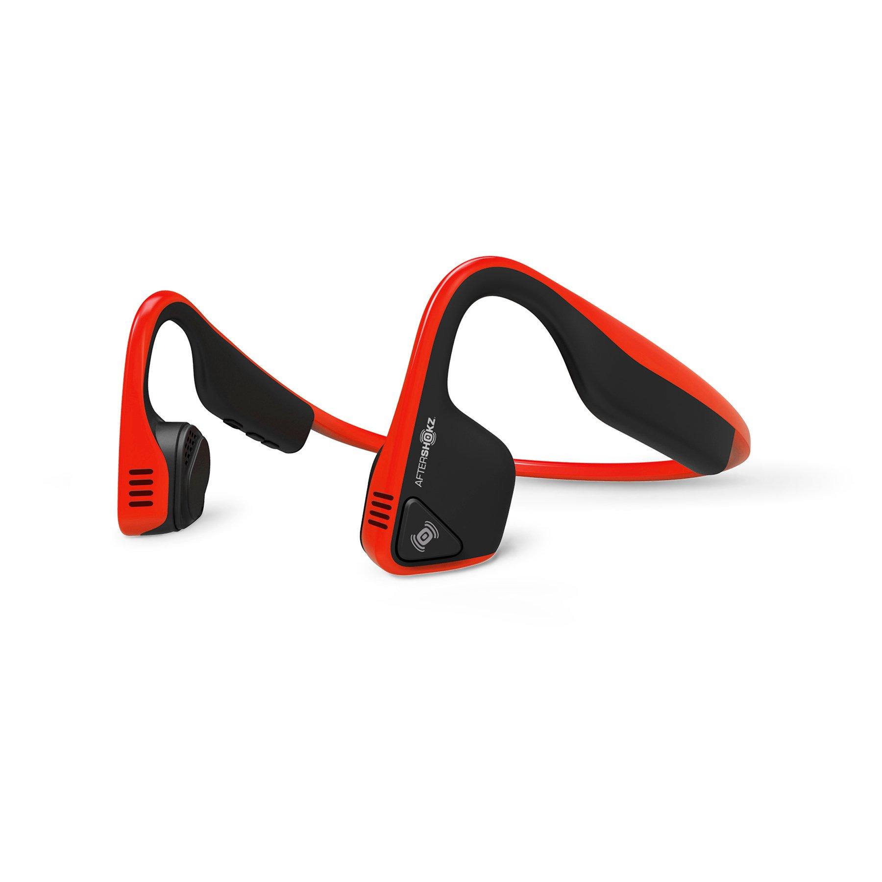 AfterShokz Trekz Titanium Open Ear Wireless Bone Conduction Headphones, Red, (AS600RD)