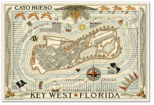 Cayo Hueso Map of KEY WEST Florida circa 1940 - measures 24