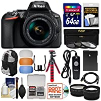 Nikon D5600 Wi-Fi Digital SLR Camera & 18-55mm VR DX AF-P Lens with 64GB Card + Backpack + Flex Tripod + Remote + Tele/Wide Lens Kit