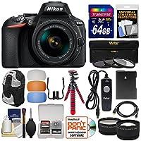 Nikon D5600 Wi-Fi Digital SLR Camera & 18-55mm VR DX AF-P Lens with 64GB Card + Backpack + Flex Tripod + Remote + Tele/Wide Lens Kit