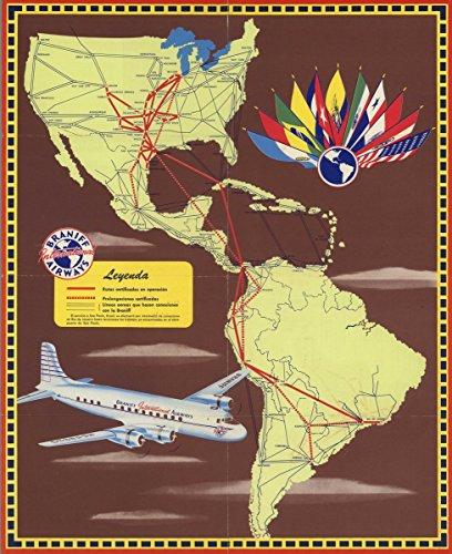 1949 Pocket Map | Map of America. Braniff International Airways | Antique Vintage Map Reprint