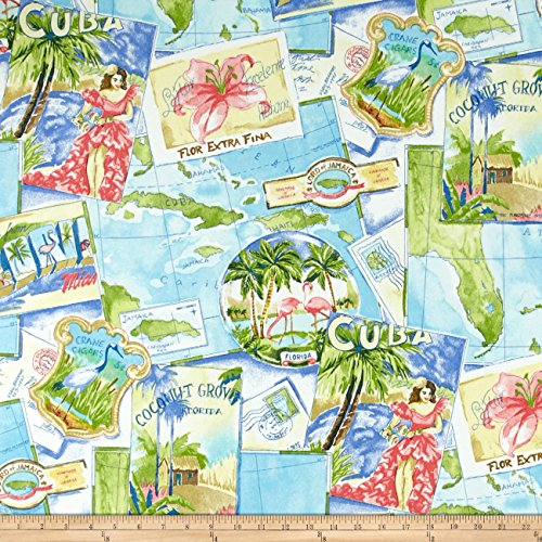 - WAVERLY Sun N Shade Greetings from Paradise Fabric by The Yard, Tropics