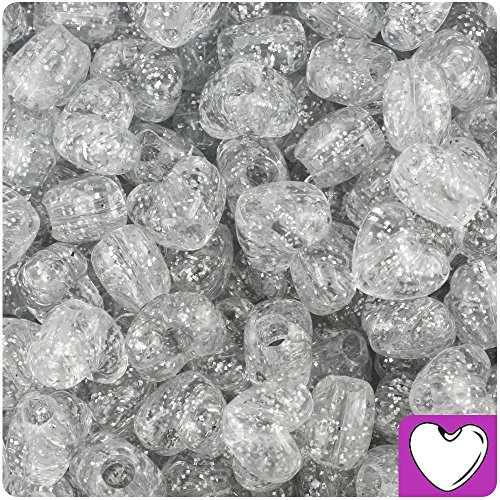 BEADTIN Silver Sparkle 12mm Heart Pony Beads (250pc) (Hearts Silver Sparkle)