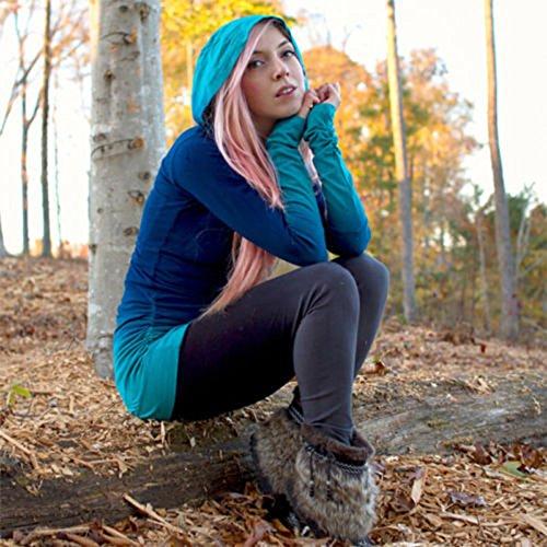 Sudadera con Capucha Degradado de Color Camisetas Manga Larga Capucha Pull-Over para Mujer Azul