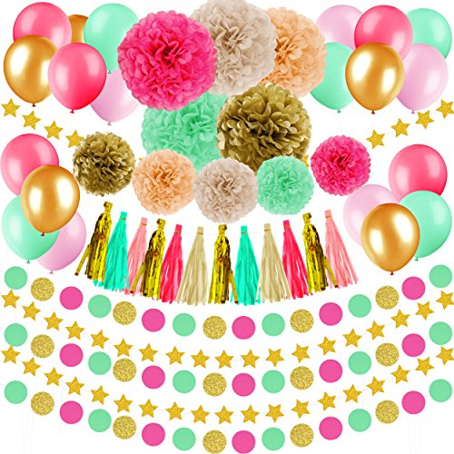 Party Tissue Paper Garland (48 Pcs Wedding, Baby Shower, Birthday Decorations - Gold Pink Mint Green Peach Ivory Tissue Paper Pom Poms Flowers Tassel Garlands, Star Garlands Party Supplies Kit for Women, Men, Kids)