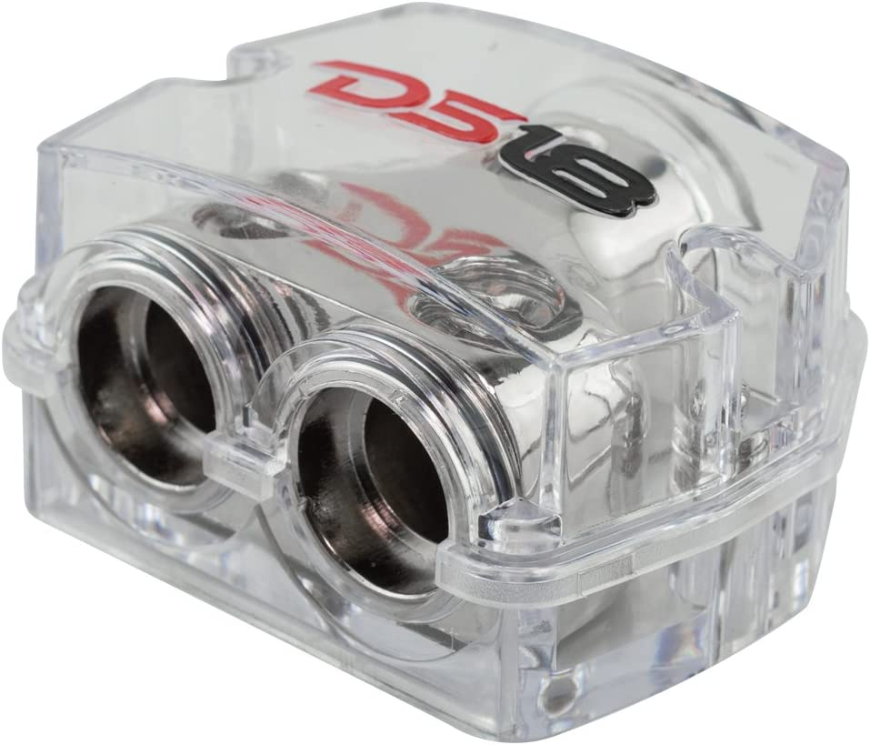 B077VJ242Z DS18 DB1020 Distribution Ground Block - 1 x 0GA in/ 2 x 0GA Out, Nickle Plated Internal Materials, High-Strength Heat Resistant Plastic Housing, Oversized Screws for Secure Connections (1 in 2 Out) 61YEWwW9SGL