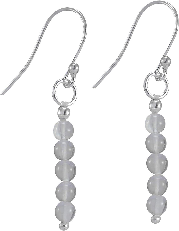 Hecho a mano Fabricante de joyería de cristal blanco cuarzo, piedra redonda protección cuentas colgantes, 925 plata de ley Dainty pendientes Jaipur Rajasthan India