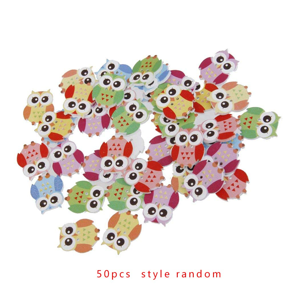 OmkuwlQ Color Random 50pcs Cartoon Wooden Chip Children Kid Clothes Button Decorations Eco-Friendly Ornament by OmkuwlQ (Image #1)