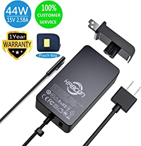 Surface Pro Surface Laptop Charger,44W 15V 2.58A Power Supply Compatible Microsoft Surface Pro 6 Pro 7 Pro 4 Pro 3 Pro X,Surface Laptop 1/2/3,Surface Go 1/2,Surface Book 1/2/3 with a Storage Pouch