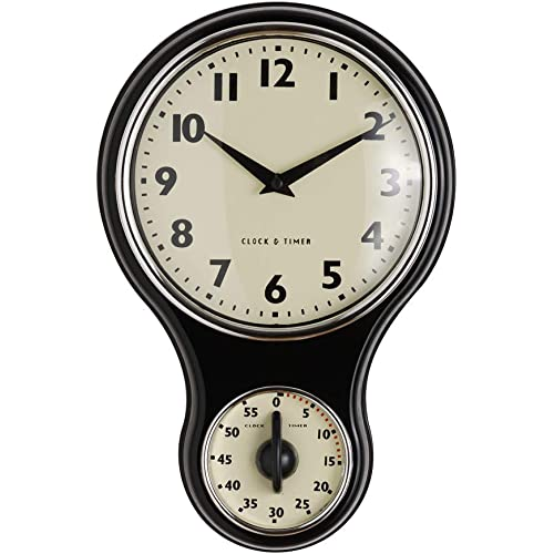 ProCook Retro Kitchen Clock Timer Black 01