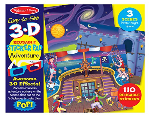 Melissa & Doug Easy-to-See 3-D Sticker Pad: Pirate, Knight, and Space - 110 Reusable Stickers, 3-D Glasses