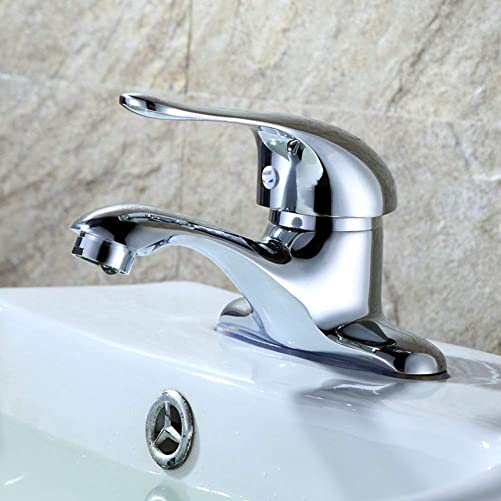Bathroom Sink Single Handle Faucet 4 Inch 2 Hole Deck Mount Hot And Cold Water Lavatory Mixer Tap Centerset Chrome Brass Commercial