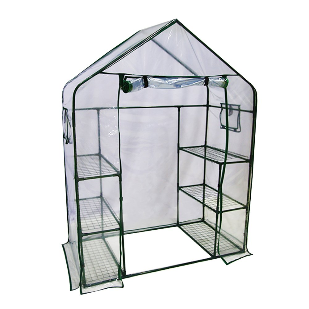 Abba Patio Mini Walk-in Greenhouse 6 Shelves Stands 3 Tiers Racks Portable Garden Green House, 56'' L x 29'' W x 77'' H