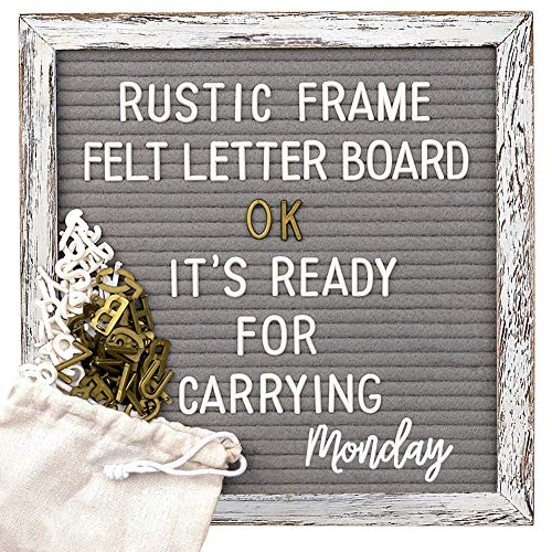 Tukuos Rustic Felt Letter Board, 752 Black & Gold & White Letters, Months & Days Cursive Words with 10x10 Inch Weathered Antique Frame, Large & Medium Letters,Double Sided ()