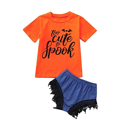 Hatoys Halloween Toddler Kids Baby Girl Letter T-Shirt Tops Lace Shorts Halloween Clothes Set