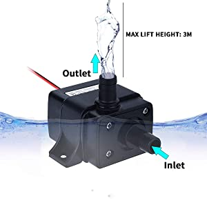 Allnice Mini Submersible Water Pump(240L/H, 4.8W) 12v Electric Brushless Submersible Fountain Pump with 9.8ft High Lift Outdoor Water Pump with 1.4ft Power Cord for Aquarium, Pond, Hydroponics (Color: Black)