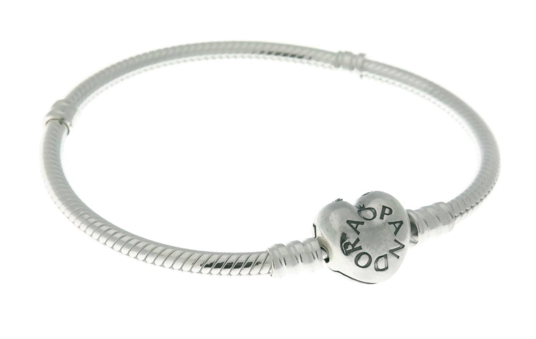 Pandora Women's Silver Bracelet with Heart Clasp 7.1'' 590719-18